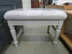 Blue painted grey cloth dressing table stool