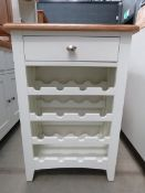 Cream painted oak top small wine bottle unit with single drawer and wine rack (145)