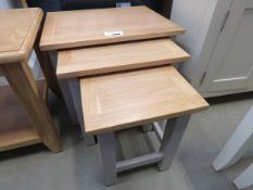 Grey painted oak top nest of 3 tables (10)