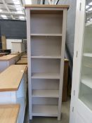 Grey painted narrow tall open front bookcase with oak top (155) Small chip on top right W: 60cm H: