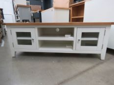 Cream painted oak top TV audio unit with 2 shelves and 2 glazed single doors (47)