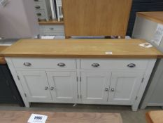 Large white painted oak top sideboard with 2 long drawers and 2 double door cupboards
