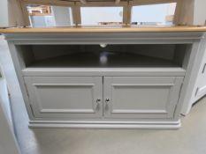 Grey painted oak top large corner TV audio unit with shelf and cupboard below (104)
