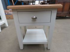 Small white painted oak top lamp table with single drawer and shelf (9)