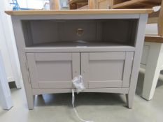 Grey painted oak top corner TV audio unit with shelf and large single drawer (168)