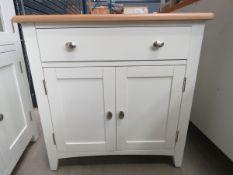 Cream painted oak top sideboard with single drawer and 2 door cupboard