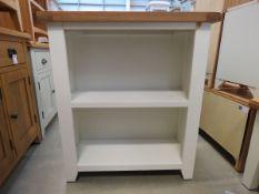 White painted oak top 2 shelf open front bookcase (3)