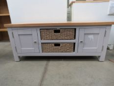 Grey painted low cabinet with oak top 2 shelves 2 baskets and 2 single door cupboards (52) Width: