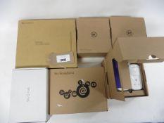Bag of 3 boxed BT Mini Connectors, 2 Sky Broadband routers & a Sky Q hub
