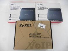 Bag of 3 Zyxel routers, 2 Wireless AC/N VDSL2 Gateway VMG3925-B10C & 1 Wireless N VDSL2 VOIP Combo