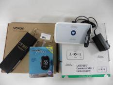Bag with Boston Scientific Latitude Communicator, Glucomen areo 2k blood monitoring system, Kipozi
