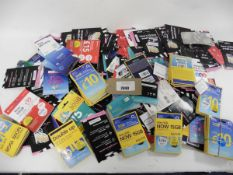 Large bag of assorted phone Sim cards, O2, EE, GiffGaff, Vodaphone, etc.