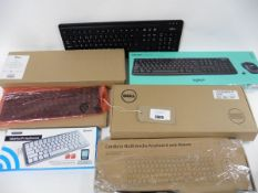 A bag of keyboards inc bluetooth, wireless sets with mice, replacement laptop keyboard etc