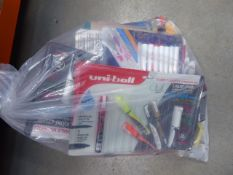 Bag of mixed items to include stationery, pens, post it notes, etc