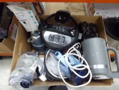 (TN71) Large box of assorted kitchen items including kettles, irons, etc