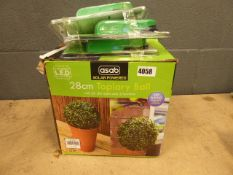 Illuminated artificial buxus ball and 3 in 1 stud metal pipe and A/C cable detectors
