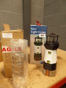 Solar lighthouse and 2 glass cylinders