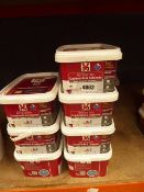 7 tubs of linen satin renovation paint for cupboard and cabinets