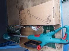 250 watt boxed electric strimmer and Bosch battery powered strimmer - no battery, no charger