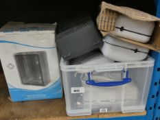 Plastic box containing pro elec switch boxes and water tight plastic board box