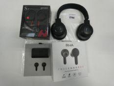 JBL e-Series wireless headset loose with RHA True connect earbuds and sport wireless earphones.