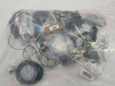 Bag containing leads, cables and PSUs