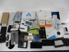 A bag of mobile phone accessories, chargers, power banks cases, screen protectors etc