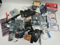 Bag of electrical accessories including remotes, 2.5'' HDD external cases, webcam covers,