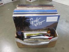 Box containing quantity of LP and 45 records to include David Bowie, Beast Epic, Queen, REM, Exit