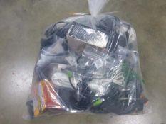 Bag of various electrical sundries, power supplies and other cabling