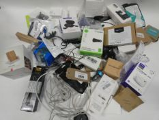 Bag containing quantity of mobile phone accessories; cables, adapters, earphones, wireless