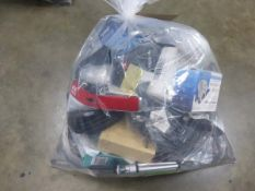 Bag containing various electrical sundries, AV cables, network cables, etc