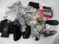 Bag of assorted reading glasses, sunglasses, filters etc, may include prescription lens