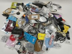 Bag containing quantity of mobile phone accessories; cables, leads, adapters, selfie stick, wireless