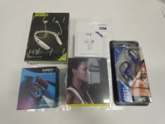 Bag containing Various wireless earbuds including Newest V5.1, Zealot sport, JVC HA-EB75 earphones.