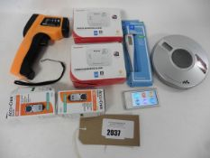 1 Contactless & 1 oral digital thermometers, 2 Blood glucose moniters, 2 Carbon Monooxide alarms,
