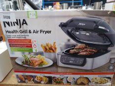 (TN4) Ninja Health & Grill air fryer with box Only includes grill plate, back of item is cracked