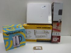 WeeKett smart wi fi kettle, Vinsani spray mop and 2 dish drainers