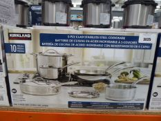 Kirkland Signature Clad stainless steel cookware set with box Previously used, one missing handle