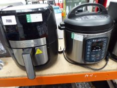 (TN86 + 87) Unboxed Gourmet fryer and an unboxed instant pot