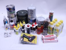 Various paints, solvents, adhesives and oils