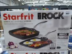 Starfrit The Rock 2 piece grill pan and griddle set with box Light use