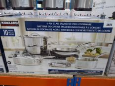 Kirkland Signature Clad stainless steel cookware set with box Light use, all in boxes