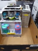 Tray containing 4 packs of Contigo drinking bottles and 2 kids Contigo drinking bottles