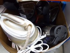 Large box containing mixed kitchen appliances, irons, kettles, Tefal Easy soup maker, etc
