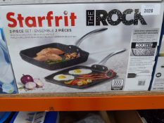 Starfrit The Rock 2 piece grill pan and griddle set with box Light use, still in boxes