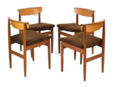 A set of four 1960's Danish teak bar back dining chairs with curved lips *Sold subject to our soft
