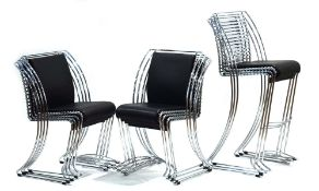 A set of eight Italian-style chromed steel stacking chairs together with three matching stacking