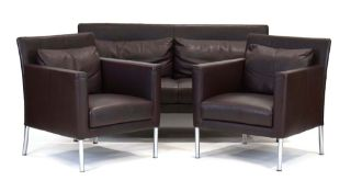 A Walter Knoll 'Jason' suite in brown leather including a two-seater sofa,