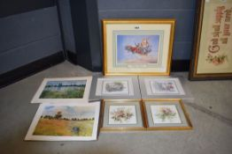 Selection of prints inc. novelty picture of flying car from Sir Algenon, Alton Towers series with